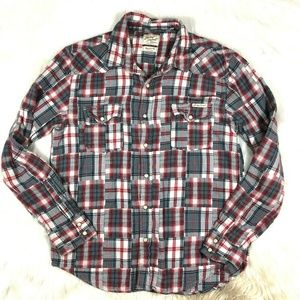 Lucky Brand Pearl Snap Patchwork Plaid Shirt